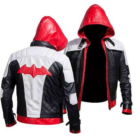 Batman Arkham Knight Red Hooded Leather Jacket and Vest for Men
